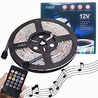 E-JIAEN LED Strip Water Resistant 16.4 ft/5m 300LEDs RGB LED Color Changing Flexible Strip Lights Lamp + 44Key Remote Control +DC12V (SMD2835 Music Dance)