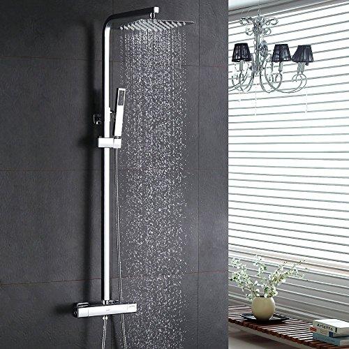 Homelody - Thermostat-Duschsystem mit Brausegarnitur, Regenbrause, eckig, Chrom