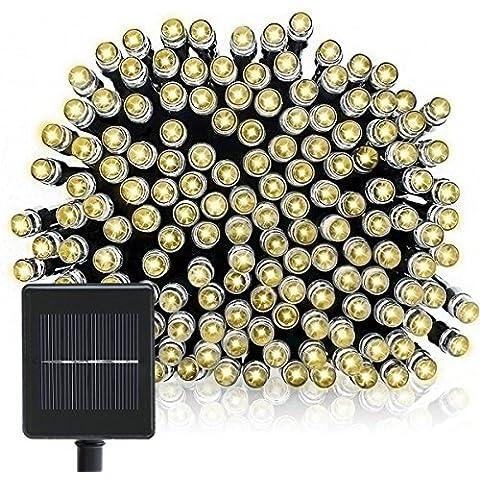 OMGAI Cadena Solar De Luces, 22m 200LEDs Hada Solar Cadena Luces para Navidad Decoraciones, Fiesta, Al aire libre, Jardines, Casas, Boda, Patio Blanco Cálido[Clase de eficiencia energética A++]