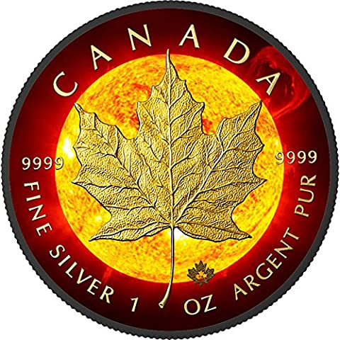 SOLAR FLARE Maple Leaf Space Collection 1 Oz Silver Coin 5$ Canada 2015 Moneda
