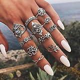 IYOU - Set di anelli in cristallo con pietre preziose, sopra nocca, stile bohémien, stile vintage, con fiore intagliato in ar