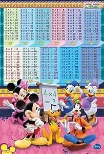 Disney 'Multiplication Table' Mickey & Minnie Mouse, Goofy, Pluto, Donald -Cartoon, Comics Poster - Superstar & Famous-