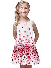 aa5008bde7b17a FRAUIT Kleid Mädchen Kinder Kleid Rundhals Blumen Beiläufig Knielänge  Sommerkleid Lose Vintage Sleeveless 3D Blumendruck.