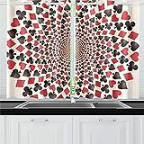 JSXMNA Carte Costumes Coeurs Diamants Piques Clubs Rideaux De Cuisine Rideau Fenêtre Niveaux pour Café, Bain, Blanchisserie, Salle De Séjour Chambre 26 X 39 Pouce 2 Pièces