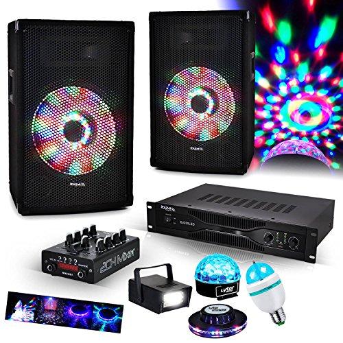 """Kit Sono 2 HP 10"""" 2X250W + Table mix USB/BT + Ampli + MIC + 4 jeux de lumière à LED"""