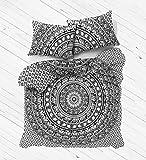 Parure de lit avec housse de couette mandala réversible exclusive par Labhanshi, blanc bohème et noir éléphant, couverture de lit et couette réversible