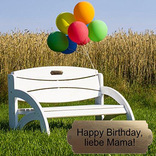 Geschenke 24 Gravierte Geburtstagsbank mit Lehne – personalisierte Gartenbank für Männer und Frauen – ein schönes Geschenk zum Geburtstag (Natur) - 3