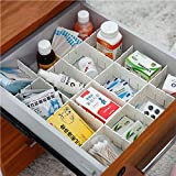 24 Pcs Plastic DIY Grid Drawer Divider Household Necessities Storage Thickening Housing Spacer for Home Tidy