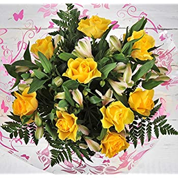 Fresh Flowers Delivered - Bright Yellow Premium Rose and Alstroemeria Flower Bouquet - FREE Next Day Delivery Within 1hr Window 7 Days a Week - Bright & Cheery Real Cut Flower Gift Arrangement