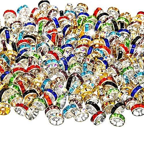 Bememo 200 Stücke Mischfarbe Rondelle Perlen, 10 Farben für Schmuckherstellung
