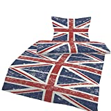 one-home 4 tlg Bettwäsche 135x200 cm England Flagge Baumwolle Renforce Union Jack Vintage