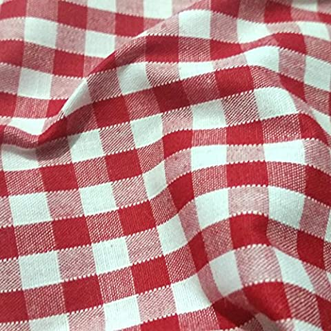 RED & WHITE Corded Gingham Fabric Polyester and Cotton 1/4
