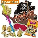 PartyMarty Pinata-Set: Pinata Piratenschiff + 144 Goldmünzen + Schläger + Maske + Süßigkeiten-Füllung