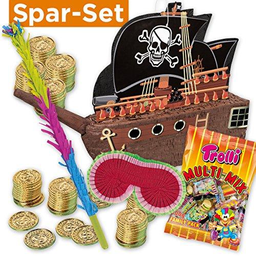 t: Pinata Piratenschiff + 144 Goldmünzen + Schläger + Maske + Süßigkeiten-Füllung ()