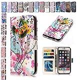 E-Mandala iPhone 5 5S SE Hülle Leder Flip Case Wallet Tasche handyhüllen Silikon 3D Muster Schutzhülle Lederhülle mit Kartenfach Klapphülle Handytasche - Elefant Blume