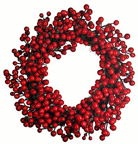 khevga Tür-Kranz Winter Weihnachten Rote Beeren (1, 40)