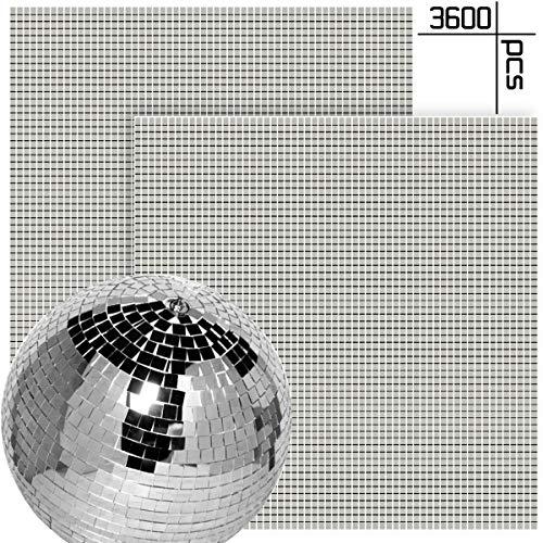 BcPowr 3600 Stück selbstklebende Mini-Spiegel, Mosaikfliesen, echtes Glas, quadratische und runde Spiegel, Mosaikfliesen für Discokugel und DIY Basteldekoration, 0,5 x 0,5 cm