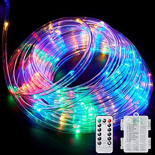 Luce della corda a led, catena luminosa colorate da batteria impermeabile ip65 10m 100 led con telecomando ir, 8 modalità lucine per esterno e interno natale, matrimono, giardino, feste