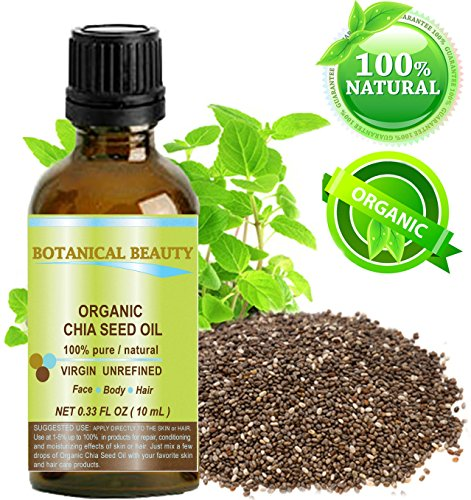CHIA SEED OIL ORGANIC. 100% Pure / Natural / Undiluted / Cold Pressed Carrier Oil For Skin, Hair, Lip And Nail Care. 0.33 fl.oz-10ml. by Botanical Beauty.