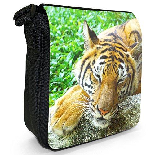 Wild Tigre Borsa a spalla piccola di tela, colore: nero, taglia: S Bengal Tiger Sleeping