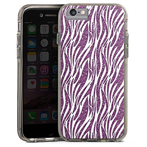 Apple iPhone 7 Bumper Hülle Bumper Case Glitzer Hülle Zebramuster Pattern Muster Bumper Case transparent grau