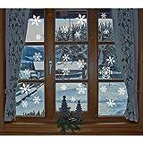 Fensterbilder, 1 x 27 Stücke Schneeflocken Fensterbilder, KingShark Weihnachten statisch haftende PVC-Sticker (Weiß)