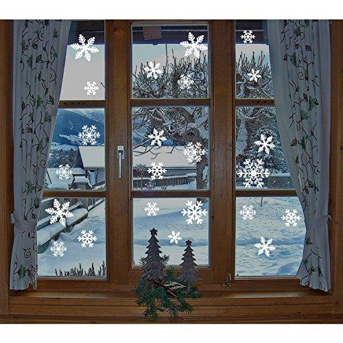 fensterbilder schneeflocken Fensterbilder, 1 x 27 Stücke Schneeflocken Fensterbilder, KingShark Weihnachten statisch haftende PVC-Sticker (Weiß)