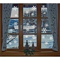 Imágenes de ventana, 1 x 27 piezas de ventana de copos de nieve, KingShark adhesiva de PVC adhesiva estática (blanca)