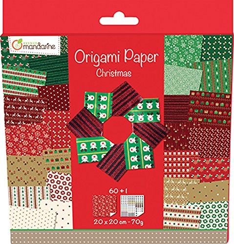 Avenue Mandarine 52508O Une pochette Origami Paper Christmas – 20 x 20 cm – 60 Feuilles – 70 g