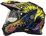 Motorradhelm MX Enduro Quad Helm Schwarz Gelb mit Visier und Sonnenblende Gr. L