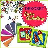 1. Schultag - Dekopaket Serviette, ABC-Streudeko, Mini Zuckertüten Einschulung