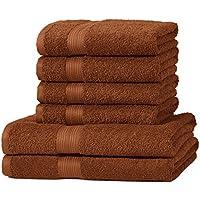 AmazonBasics Fade Resistant Towel Set, 2 Bath and 4 Hand - Acorn Brown, 500gsm
