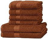 AmazonBasics - Set di 2 asciugamani da bagno e 4 asciugamani per le mani che non sbiadiscono, colore Marrone