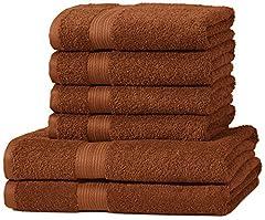 Idea Regalo - AmazonBasics - Set di 2 asciugamani da bagno e 4 asciugamani per le mani che non sbiadiscono, colore Marrone