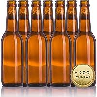 Kit de 20 bouteilles de bière de 33 cl réutilisables avec 200 capsules incluses pour fabriquer des bières artisanales…
