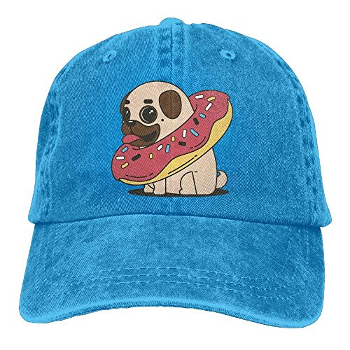 SOTTK Herren Damen Baseball Caps,Hüte, Mützen, Pug Donut Denim Hat Adjustable Men Stretch Baseball Hat -