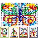 0Miaxudh Mosaik Pilz Plug Perlen Kinder Puzzle Peg Board Mit 296 Pegs Für Kinder Frühe Pädagogische Spielzeug DIY Geschenk