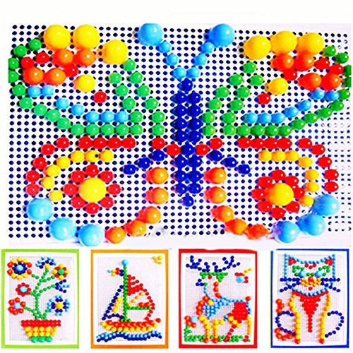 Bluelans Children Puzzle Peg Board With 296 Pegs Kids Early Educational Toys for Boys Girls Xmas Gifts Xmas Stocking Fillers Party Bag Gifts