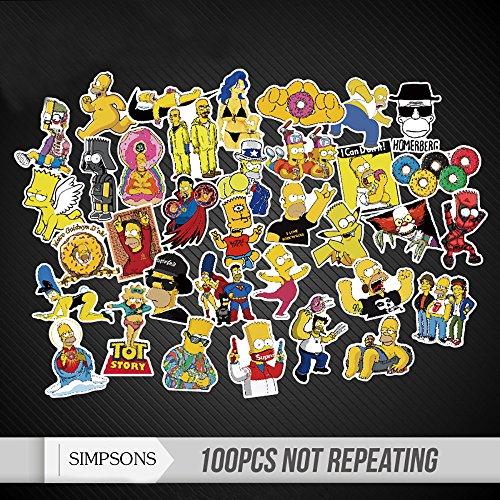 Aufkleber Simpsons Auto (Aufkleber Simpsons Wasserdicht Random Stilvolle für Wand Skateboard Auto Gepäck iPhone Laptop Fahrrad 100 Stücke)