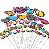 Teenitor Butterfly Garden Stake, 5 Different Size Butterfly Stakes Garden Ornaments & Patio Decor Butterfly Party Supplies Garden Stakes Decorative for Outdoor Yard Decorations(Set of 40)