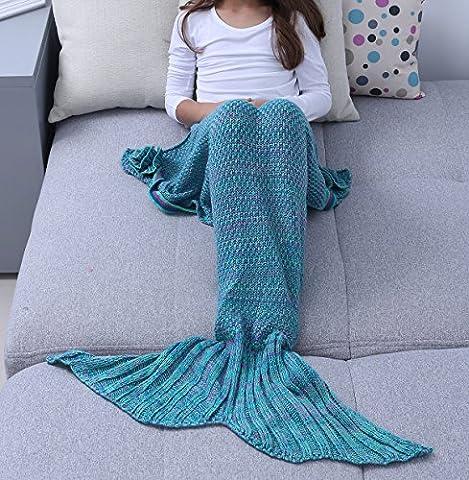 iEFiEL Superbe Couverture de Sirène Plaid Blanket Tricoté chaud et