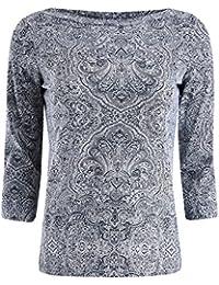 oodji Collection Femme T-shirt Imprimé avec Manche 3/4