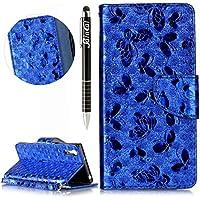 Sony Xperia XZ Hülle,Sony Xperia XZ Ledertasche Handyhülle Brieftasche im BookStyle,SainCat Schön Retro 3D Schmetterling... preisvergleich bei billige-tabletten.eu