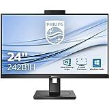 Monitor Philips 242B1H de 60 cm (23,8 Pulgadas) (HDMI, DisplayPort, hub USB, 1920 x 1080, 75 Hertz, FreeSync, Webcam), Color