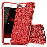 Slynmax Coque iPhone 8 Plus Rouge Coque iPhone 7 Plus Silicone Paillette Strass Brillante Bling Glitter de Luxe Bumper Housse Etui de Protection [Fin] [Anti Choc] pour Apple iPhone 7 Plus Glamour
