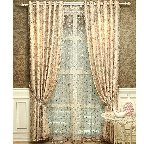 MENGXIANG Europäische Vorhänge Bestickt Doppelvorhänge einfache europäische Schlafzimmer Wohnzimmer Kinder Studie Verdunkelungsvorhänge 140 * 260cm