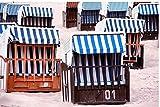 Zopix Poster Strandkorb Sand Strand Ostsee Wandbild - Premium (70x50 cm, versch. Größen) - 190g Premium-Papierdruck - Inklusive Poster-Stripes