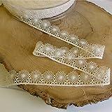 Hochwertige, zarte Spitzenborde mit gehäkelter Guipure-Spitze in 7Farben, 15mm breit, Meterware, Polyamid Spitze, Ivory / Cream, 15mm wide