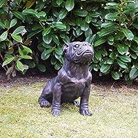 Bronzefigur kleiner Hund Französische Bulldogge sitzend