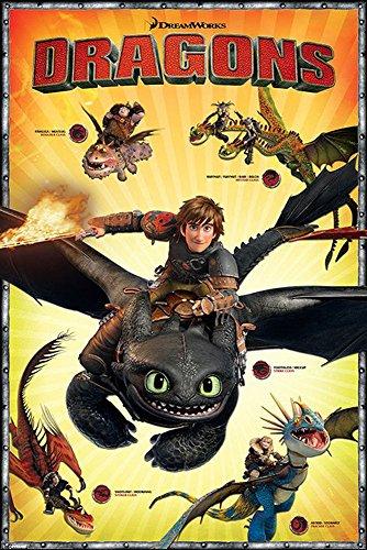Dragons - Drachenzähmen leicht gemacht 2, How to train your Dragon 2 - Charakters Defenders of Berk Die Drachenreiter von Berk TV Serie Poster + 1 Ü-Poster der Grösse 61x91,5cm (Dragon Poster Großes)